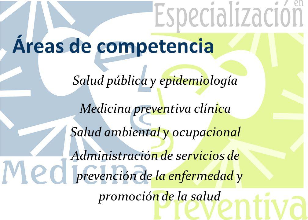 Áreas de competencia Salud pública y epidemiología Medicina preventiva clínica Salud ambiental y ocupacional Administración de servicios de prevención de la enfermedad y promoción de la salud
