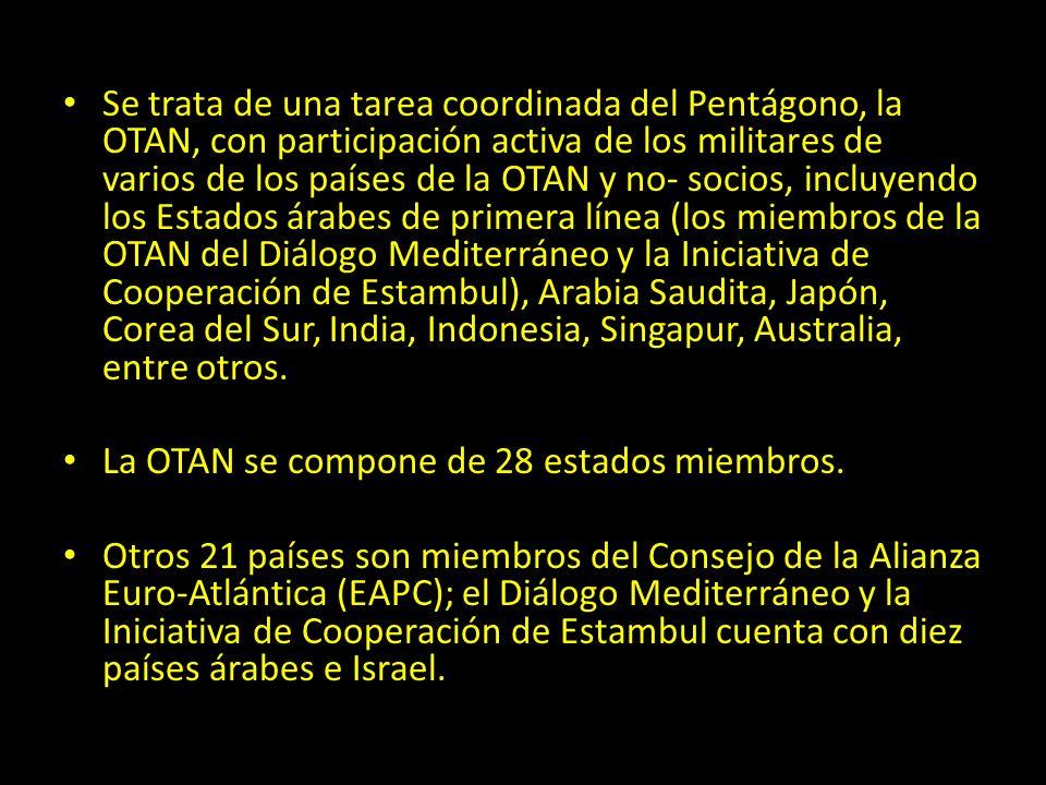Se trata de una tarea coordinada del Pentágono, la OTAN, con participación activa de los militares de varios de los países de la OTAN y no- socios, in