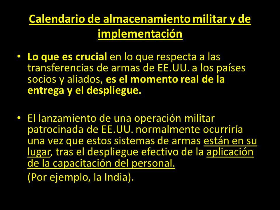Calendario de almacenamiento militar y de implementación Lo que es crucial en lo que respecta a las transferencias de armas de EE.UU. a los países soc