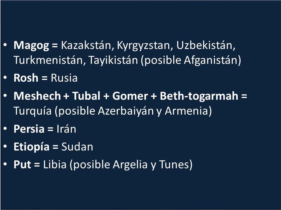 Magog = Kazakstán, Kyrgyzstan, Uzbekistán, Turkmenistán, Tayikistán (posible Afganistán) Rosh = Rusia Meshech + Tubal + Gomer + Beth-togarmah = Turquía (posible Azerbaiyán y Armenia) Persia = Irán Etiopía = Sudan Put = Libia (posible Argelia y Tunes) Magog = Kazakstán, Kyrgyzstan, Uzbekistán, Turkmenistán, Tayikistán (posible Afganistán) Rosh = Rusia Meshech + Tubal + Gomer + Beth-togarmah = Turquía (posible Azerbaiyán y Armenia) Persia = Irán Etiopía = Sudan Put = Libia (posible Argelia y Tunes)