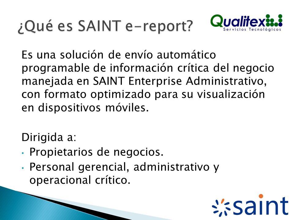 Es una solución de envío automático programable de información crítica del negocio manejada en SAINT Enterprise Administrativo, con formato optimizado para su visualización en dispositivos móviles.