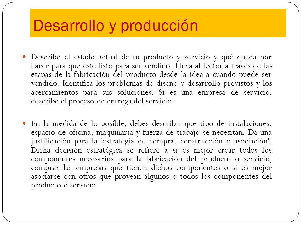 Describe el estado actual de tu producto y servicio y qué queda por hacer para que esté listo para ser vendido. Lleva al lector a través de las etapas