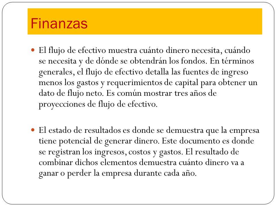 El flujo de efectivo muestra cuánto dinero necesita, cuándo se necesita y de dónde se obtendrán los fondos. En términos generales, el flujo de efectiv