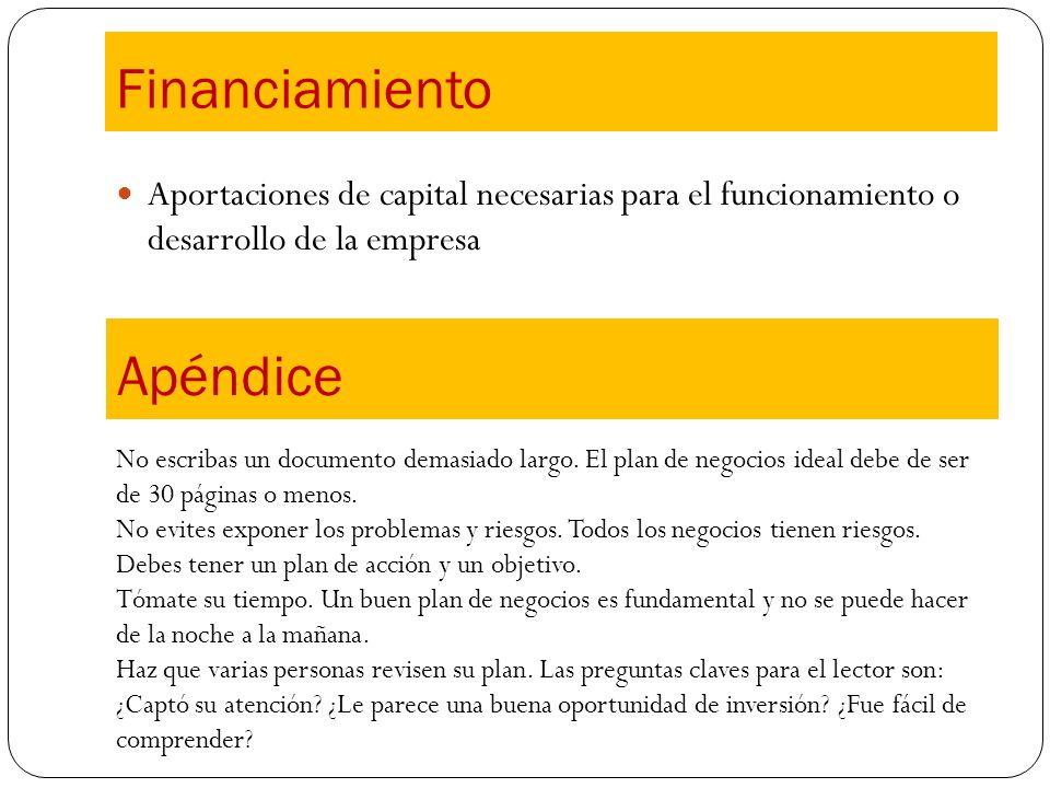 Aportaciones de capital necesarias para el funcionamiento o desarrollo de la empresa Financiamiento Apéndice No escribas un documento demasiado largo.