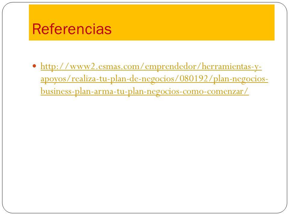 Referencias http://www2.esmas.com/emprendedor/herramientas-y- apoyos/realiza-tu-plan-de-negocios/080192/plan-negocios- business-plan-arma-tu-plan-nego