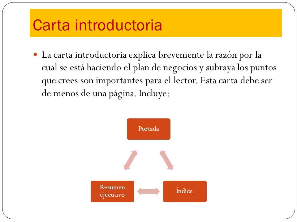 Carta introductoria La carta introductoria explica brevemente la razón por la cual se está haciendo el plan de negocios y subraya los puntos que crees