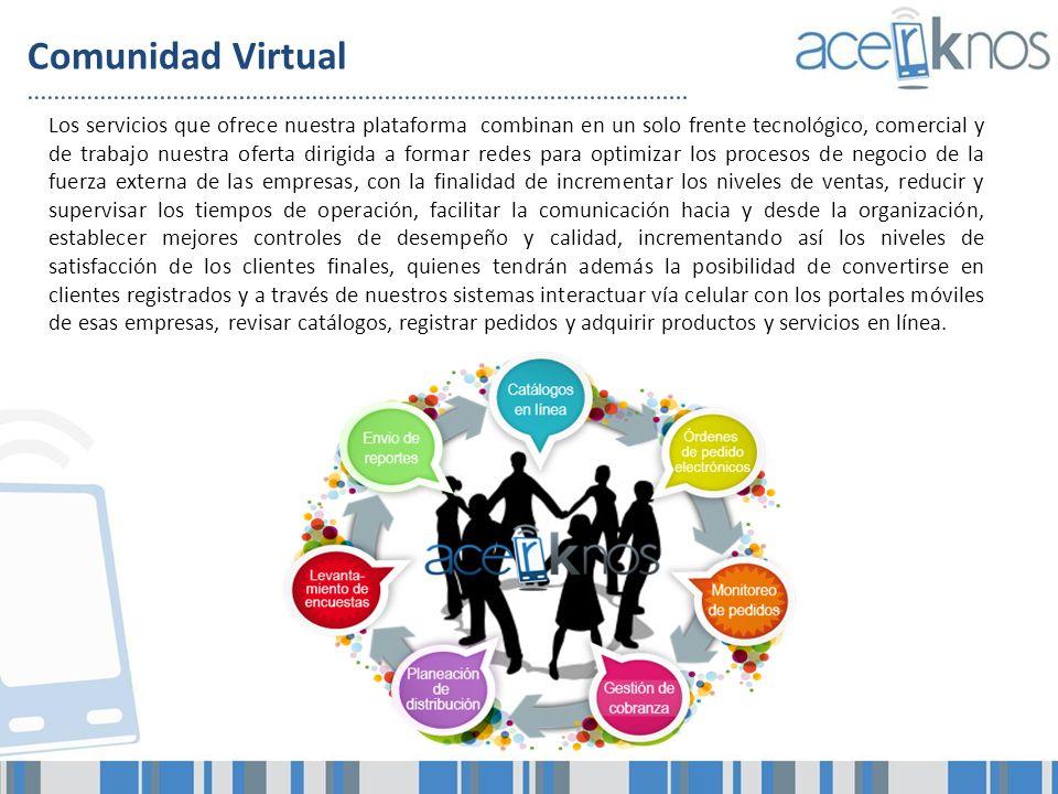 Comunidad Virtual Los servicios que ofrece nuestra plataforma combinan en un solo frente tecnológico, comercial y de trabajo nuestra oferta dirigida a