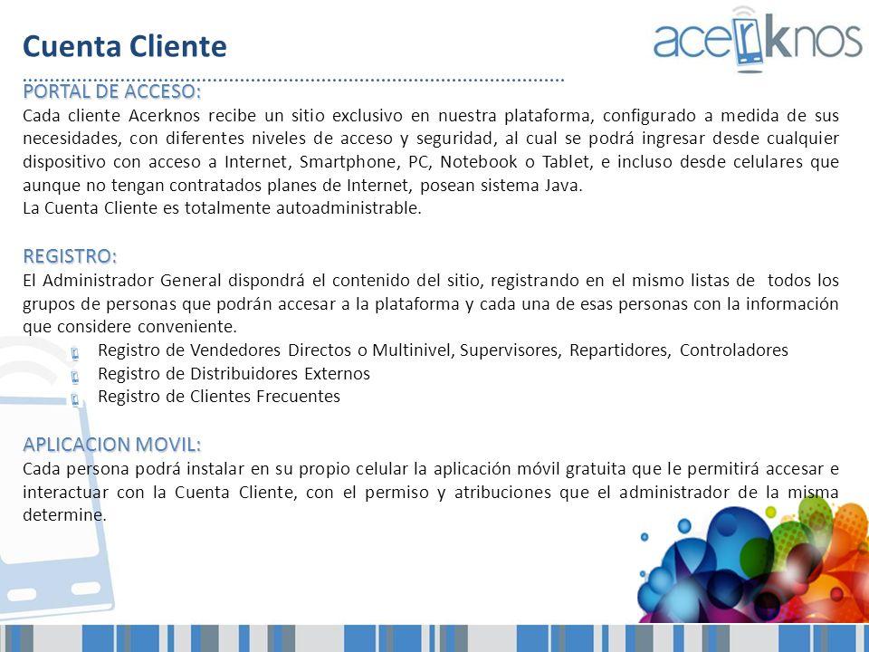 Cuenta Cliente PORTAL DE ACCESO: Cada cliente Acerknos recibe un sitio exclusivo en nuestra plataforma, configurado a medida de sus necesidades, con d