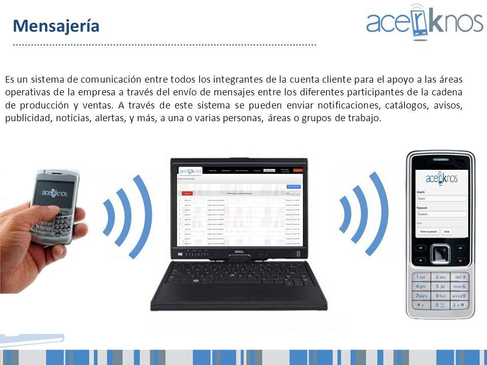 Mensajería Es un sistema de comunicación entre todos los integrantes de la cuenta cliente para el apoyo a las áreas operativas de la empresa a través
