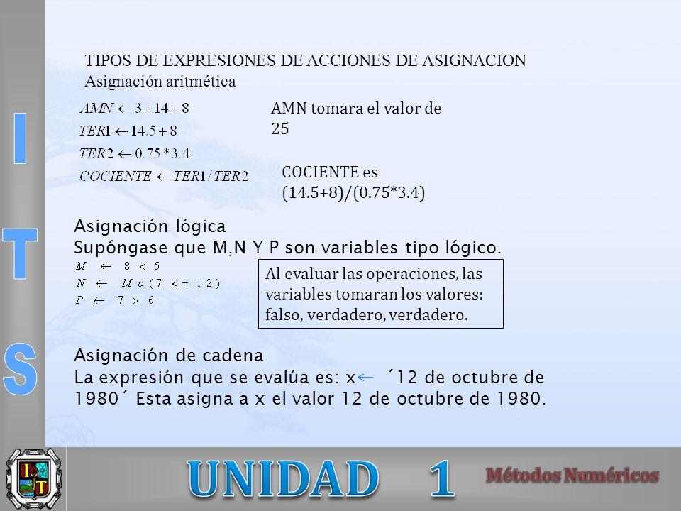 TIPOS DE EXPRESIONES DE ACCIONES DE ASIGNACION Asignación aritmética AMN tomara el valor de 25 COCIENTE es (14.5+8)/(0.75*3.4) Asignación lógica Supóngase que M,N Y P son variables tipo lógico.