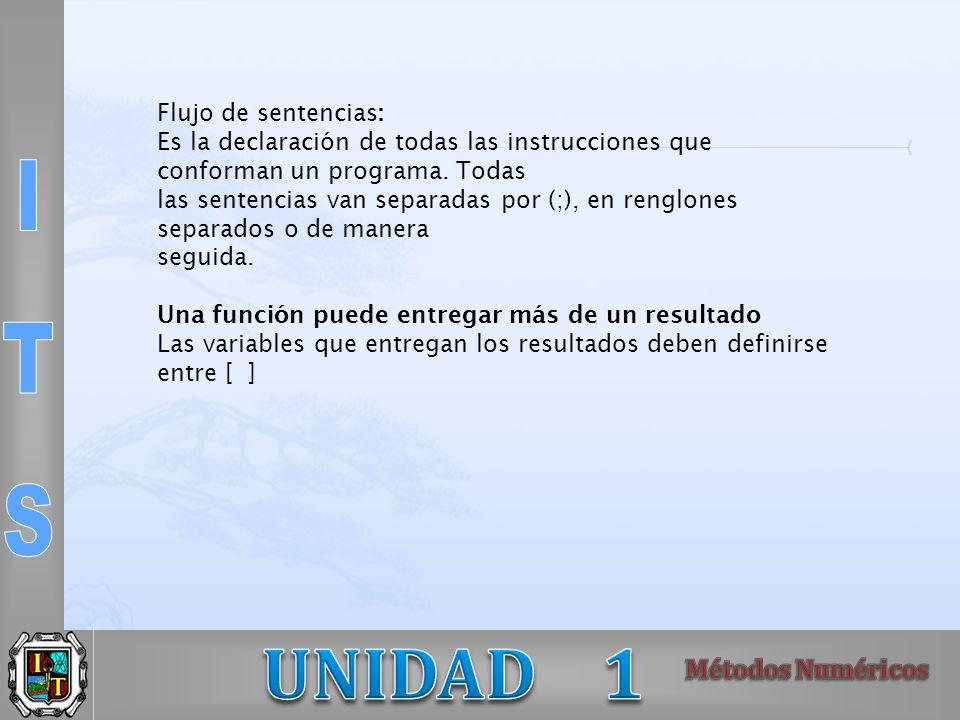 Flujo de sentencias: Es la declaración de todas las instrucciones que conforman un programa.