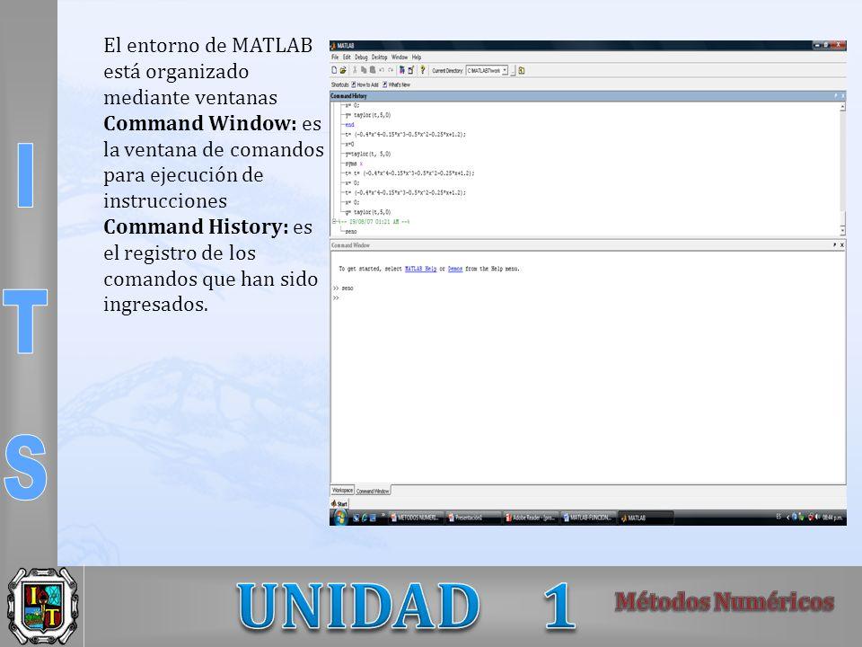 El entorno de MATLAB está organizado mediante ventanas Command Window: es la ventana de comandos para ejecución de instrucciones Command History: es el registro de los comandos que han sido ingresados.