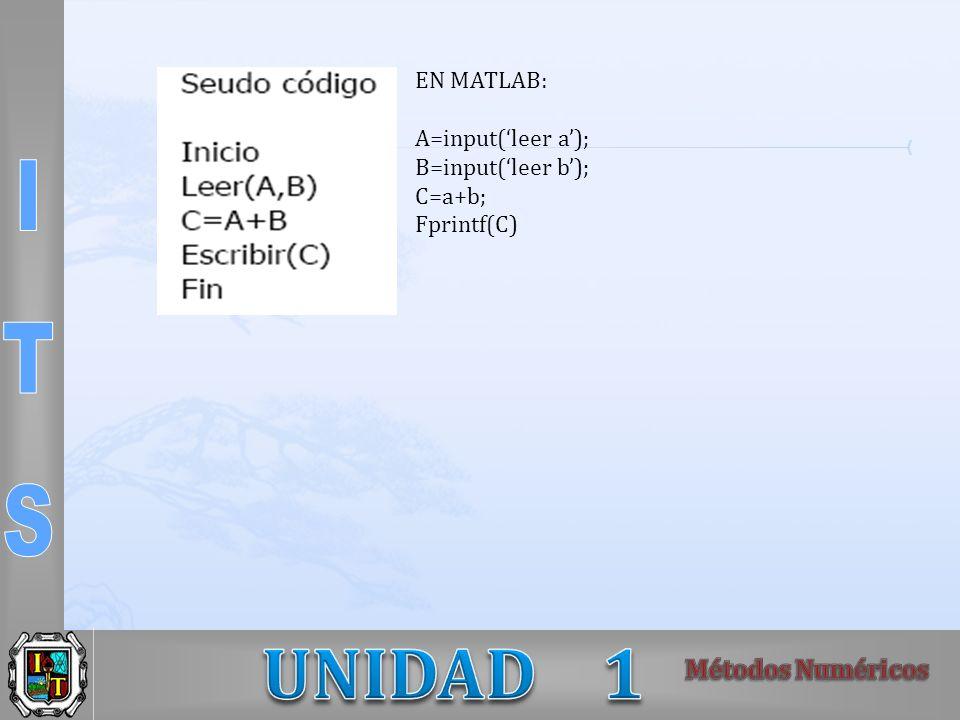 EN MATLAB: A=input(leer a); B=input(leer b); C=a+b; Fprintf(C)