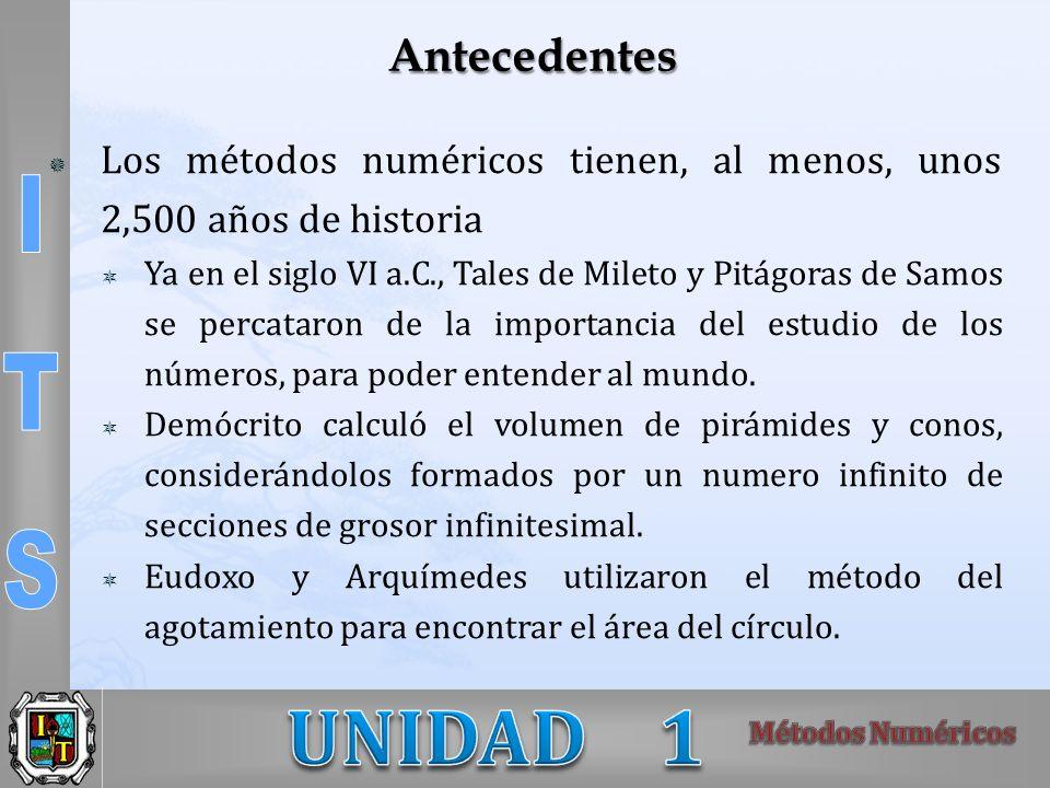 Antecedentes Los métodos numéricos tienen, al menos, unos 2,500 años de historia Ya en el siglo VI a.C., Tales de Mileto y Pitágoras de Samos se percataron de la importancia del estudio de los números, para poder entender al mundo.