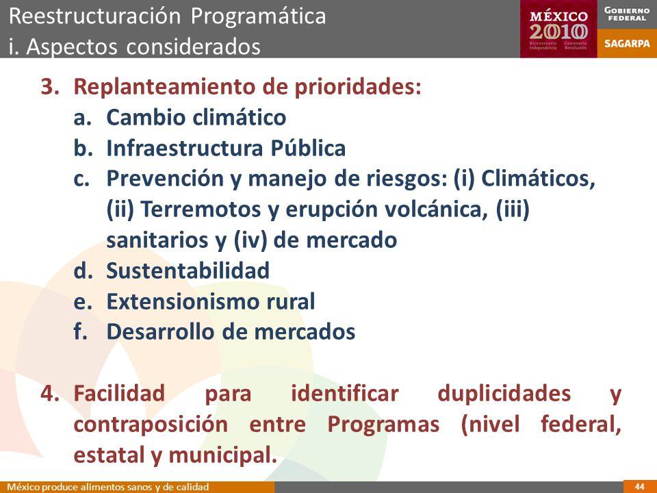 3.Replanteamiento de prioridades: a.Cambio climático b.Infraestructura Pública c.Prevención y manejo de riesgos: (i) Climáticos, (ii) Terremotos y erupción volcánica, (iii) sanitarios y (iv) de mercado d.Sustentabilidad e.Extensionismo rural f.Desarrollo de mercados 4.Facilidad para identificar duplicidades y contraposición entre Programas (nivel federal, estatal y municipal.