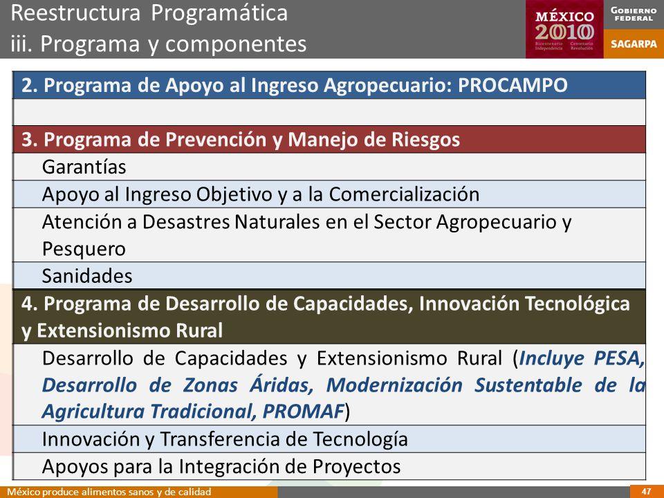 2.Programa de Apoyo al Ingreso Agropecuario: PROCAMPO 3.