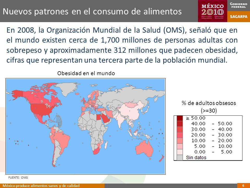 % de adultos obsesos (>=30) Obesidad en el mundo FUENTE: OMS En 2008, la Organización Mundial de la Salud (OMS), señaló que en el mundo existen cerca de 1,700 millones de personas adultas con sobrepeso y aproximadamente 312 millones que padecen obesidad, cifras que representan una tercera parte de la población mundial.