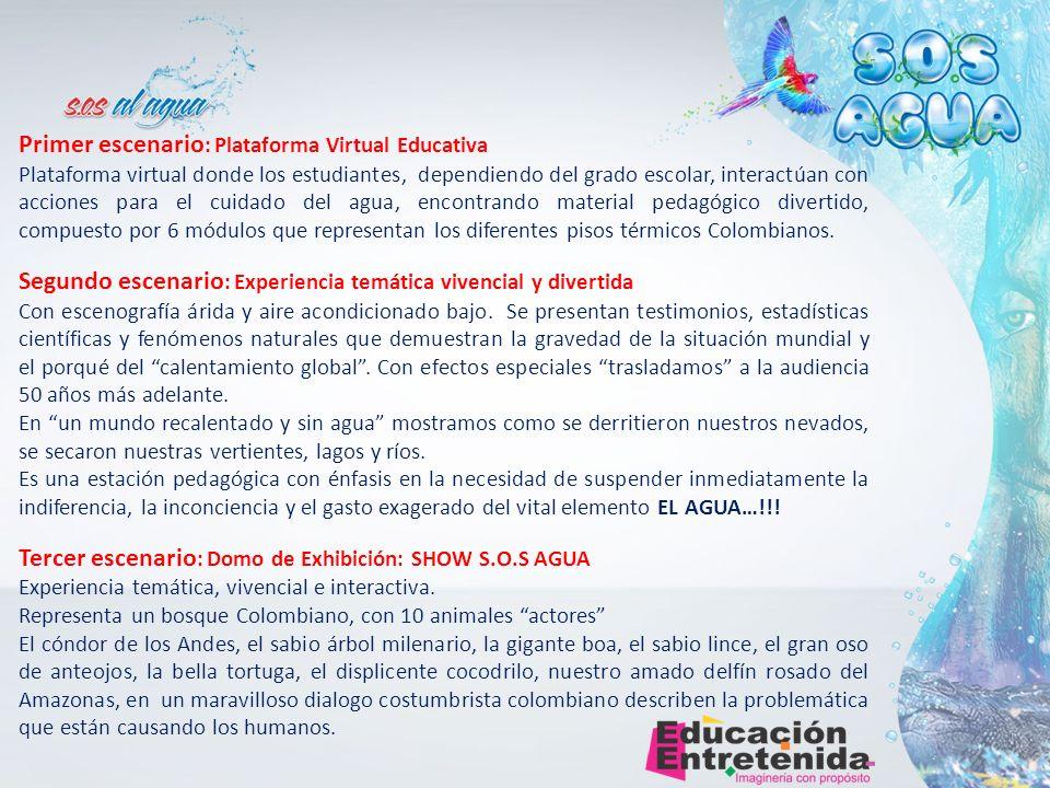 Primer escenario : Plataforma Virtual Educativa Plataforma virtual donde los estudiantes, dependiendo del grado escolar, interactúan con acciones para el cuidado del agua, encontrando material pedagógico divertido, compuesto por 6 módulos que representan los diferentes pisos térmicos Colombianos.