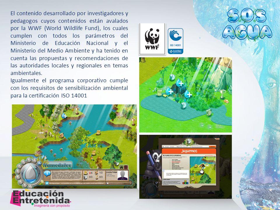 El contenido desarrollado por investigadores y pedagogos cuyos contenidos están avalados por la WWF (World Wildlife Fund), los cuales cumplen con todos los parámetros del Ministerio de Educación Nacional y el Ministerio del Medio Ambiente y ha tenido en cuenta las propuestas y recomendaciones de las autoridades locales y regionales en temas ambientales.