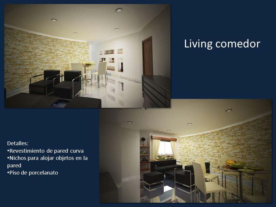 Living comedor Detalles: Revestimiento de pared curva Nichos para alojar objetos en la pared Piso de porcelanato