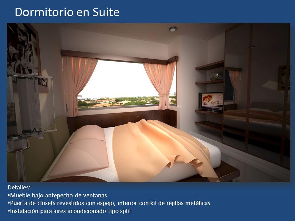 Dormitorio en Suite Detalles: Mueble bajo antepecho de ventanas Puerta de closets revestidos con espejo, interior con kit de rejillas metálicas Instal