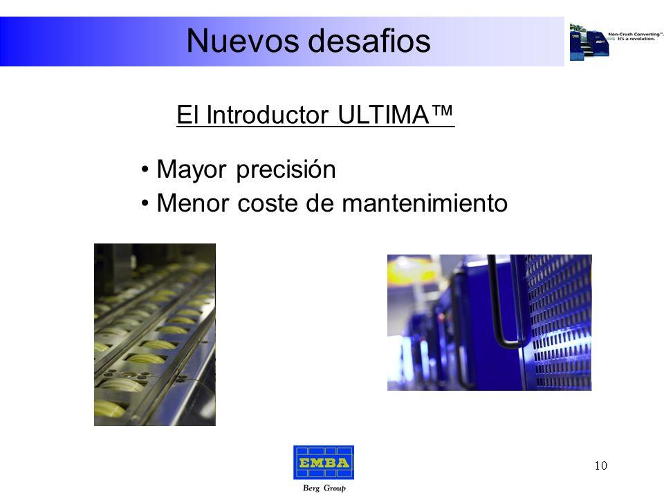 Nuevos desafios Introductor Ultima Rodillos de Tracción Sin Rodillos de Tracción Introductor convencional La primera máquina de Convertir sin Aplastar