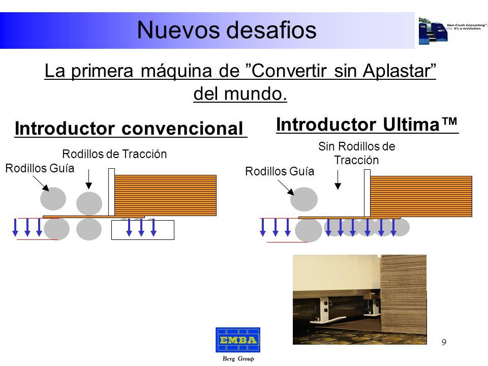 Nuevos desafios Alta velocidad de producción + Registro de introducción muy preciso + Sin rodillos de tracción = El introductor EMBA ULTIMA 8
