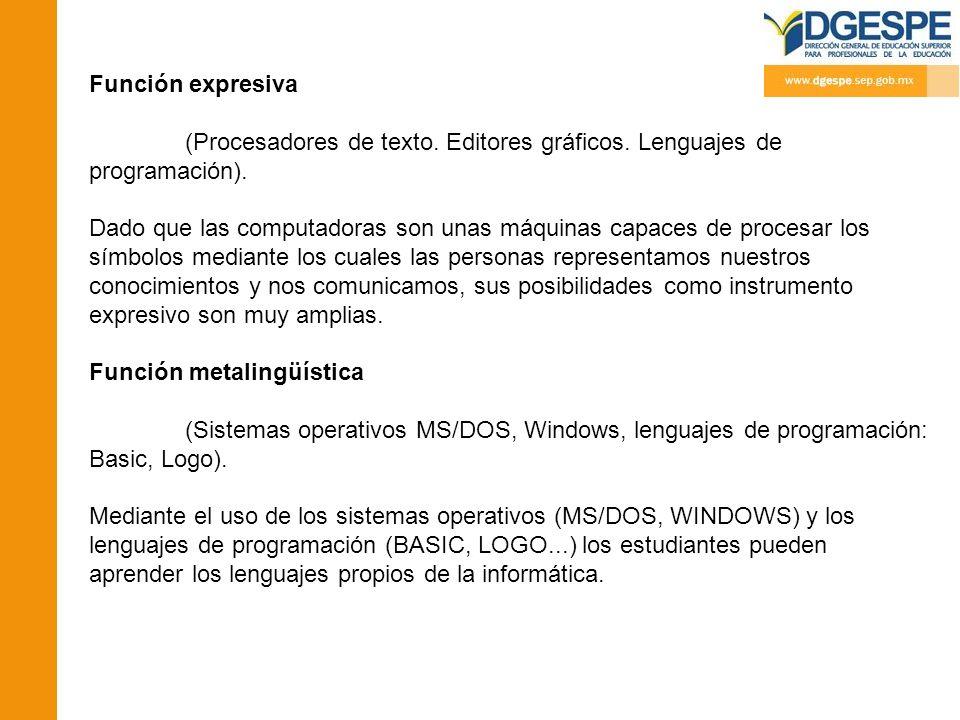 Función expresiva (Procesadores de texto. Editores gráficos. Lenguajes de programación). Dado que las computadoras son unas máquinas capaces de proces