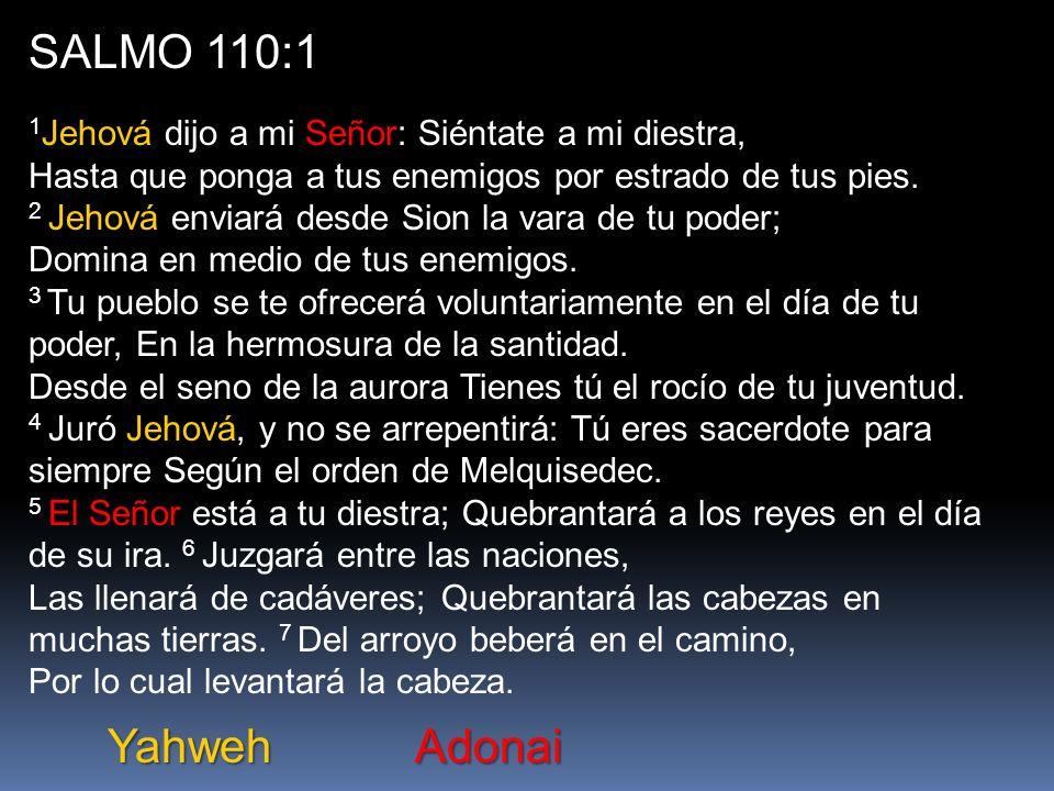 SALMO 110:1 1 Jehová dijo a mi Señor: Siéntate a mi diestra, Hasta que ponga a tus enemigos por estrado de tus pies.