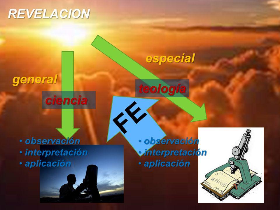 REVELACION general especial observaciónobservación interpretacióninterpretación aplicaciónaplicación teología observaciónobservación interpretacióninterpretación aplicaciónaplicación ciencia FE