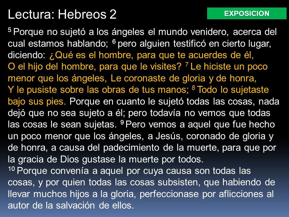 Lectura: Hebreos 2 5 Porque no sujetó a los ángeles el mundo venidero, acerca del cual estamos hablando; 6 pero alguien testificó en cierto lugar, diciendo: ¿Qué es el hombre, para que te acuerdes de él, O el hijo del hombre, para que le visites.