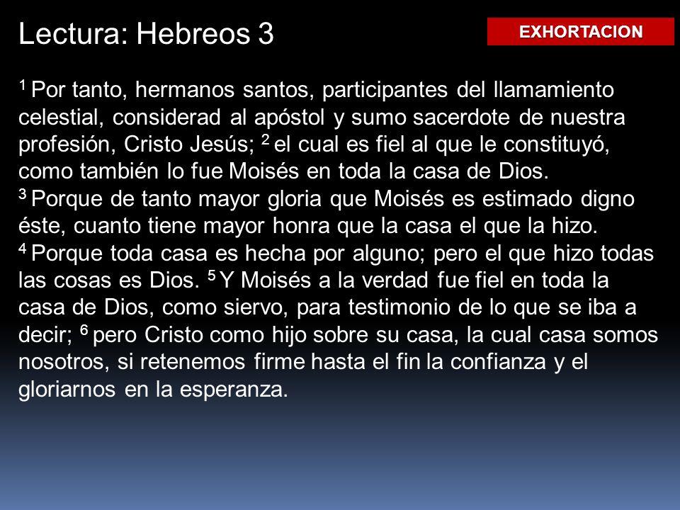 Lectura: Hebreos 3 1 Por tanto, hermanos santos, participantes del llamamiento celestial, considerad al apóstol y sumo sacerdote de nuestra profesión, Cristo Jesús; 2 el cual es fiel al que le constituyó, como también lo fue Moisés en toda la casa de Dios.