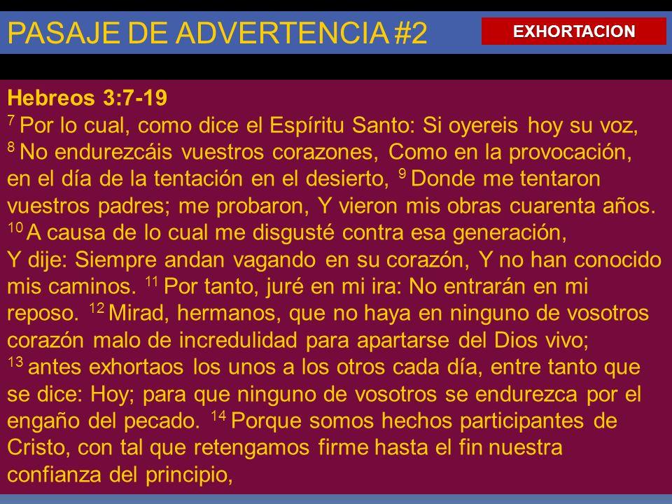 PASAJE DE ADVERTENCIA #2 Hebreos 3:7-19 7 Por lo cual, como dice el Espíritu Santo: Si oyereis hoy su voz, 8 No endurezcáis vuestros corazones, Como en la provocación, en el día de la tentación en el desierto, 9 Donde me tentaron vuestros padres; me probaron, Y vieron mis obras cuarenta años.