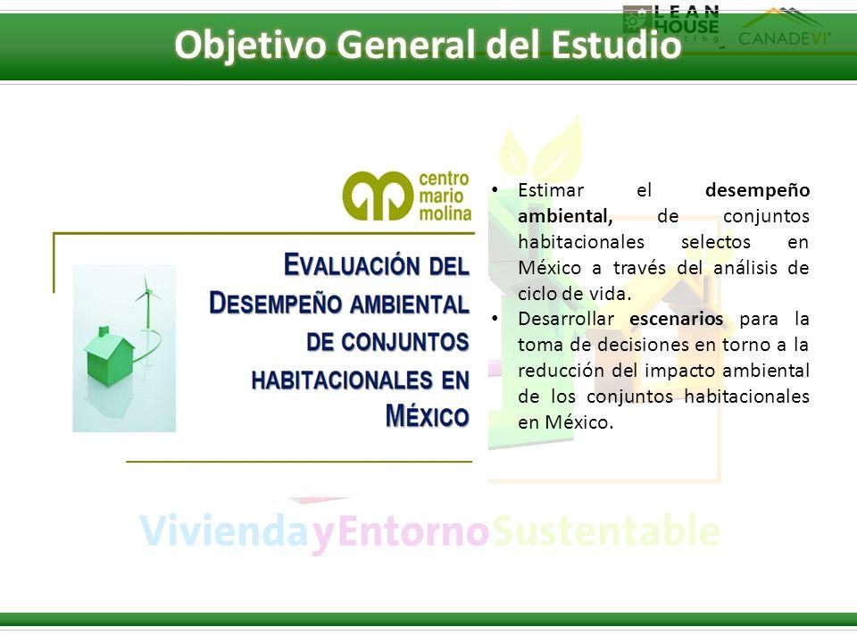 Estimar el desempeño ambiental, de conjuntos habitacionales selectos en México a través del análisis de ciclo de vida. Desarrollar escenarios para la