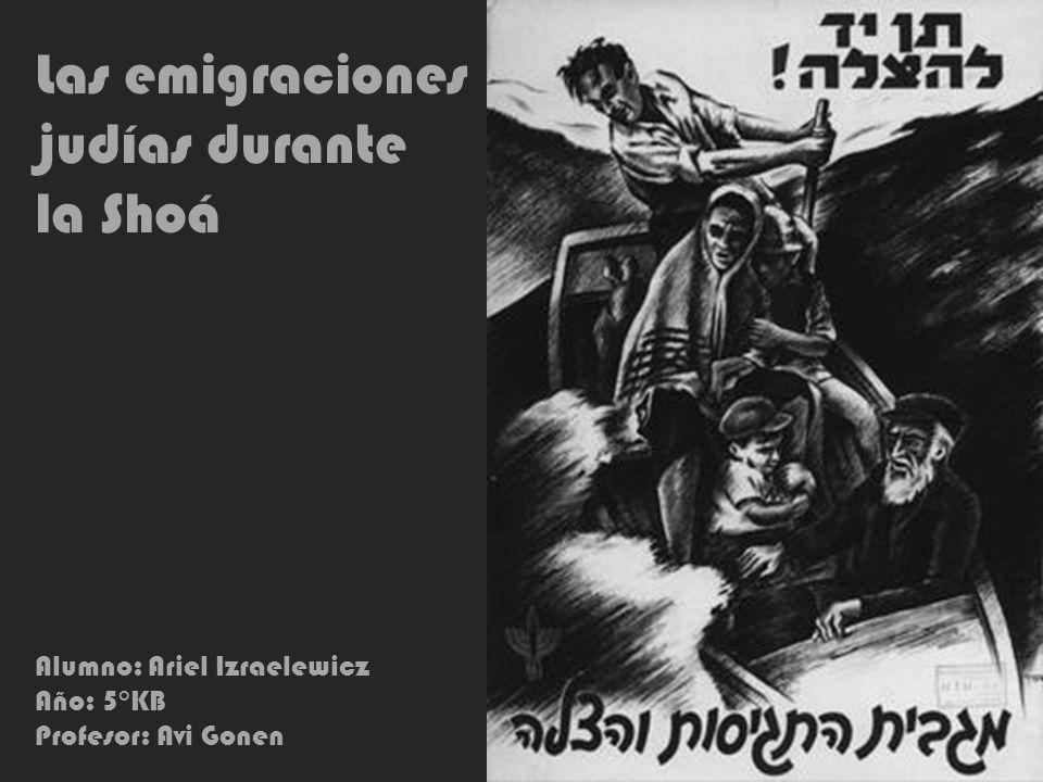 Las emigraciones judías durante la Shoá Alumno: Ariel Izraelewicz Año: 5°KB Profesor: Avi Gonen