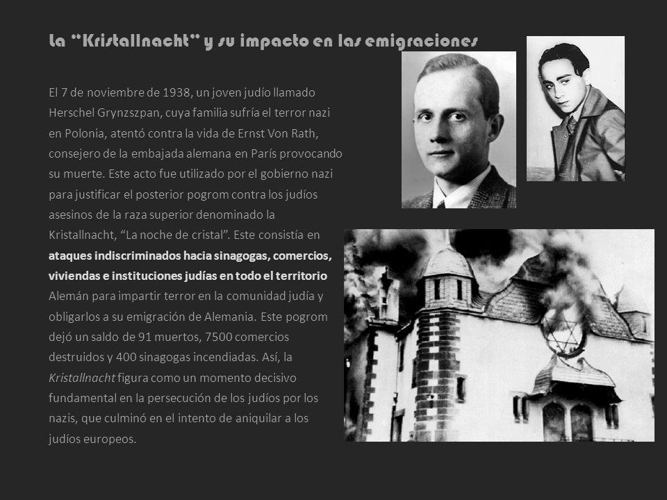 La Kristallnacht y su impacto en las emigraciones El 7 de noviembre de 1938, un joven judío llamado Herschel Grynzszpan, cuya familia sufría el terror