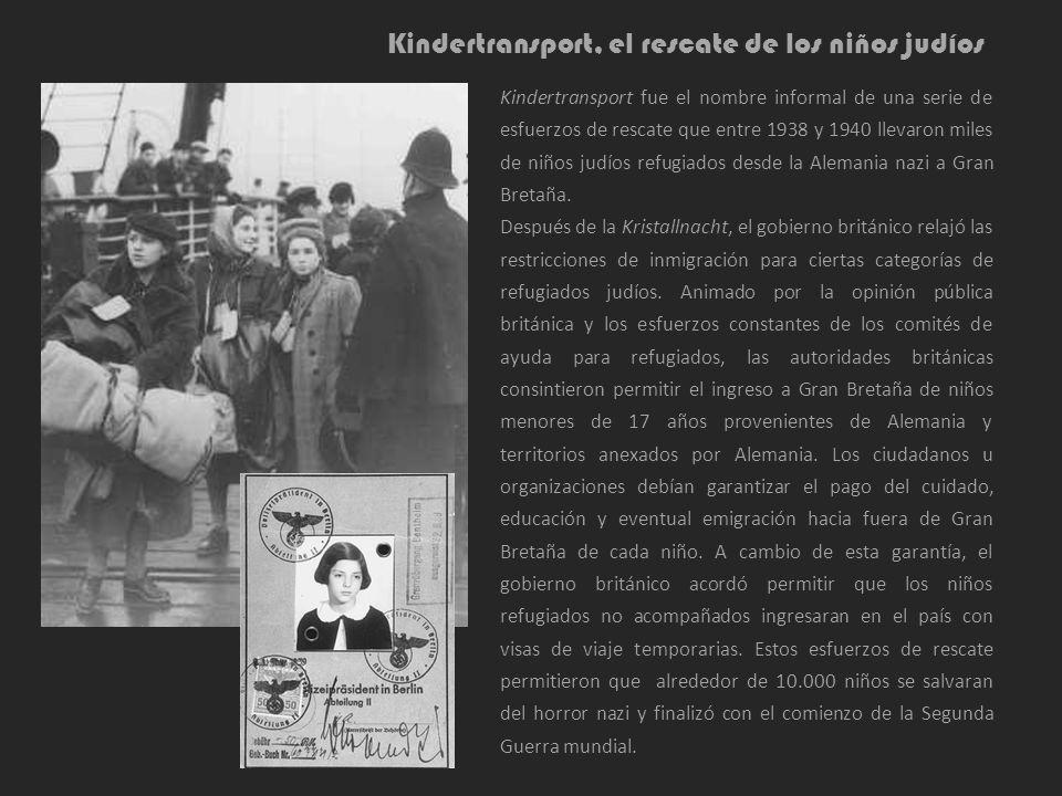 Kindertransport, el rescate de los niños judíos Kindertransport fue el nombre informal de una serie de esfuerzos de rescate que entre 1938 y 1940 llev