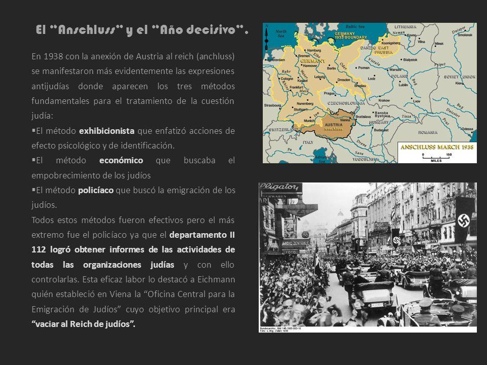 El Anschluss y el Año decisivo. En 1938 con la anexión de Austria al reich (anchluss) se manifestaron más evidentemente las expresiones antijudías don