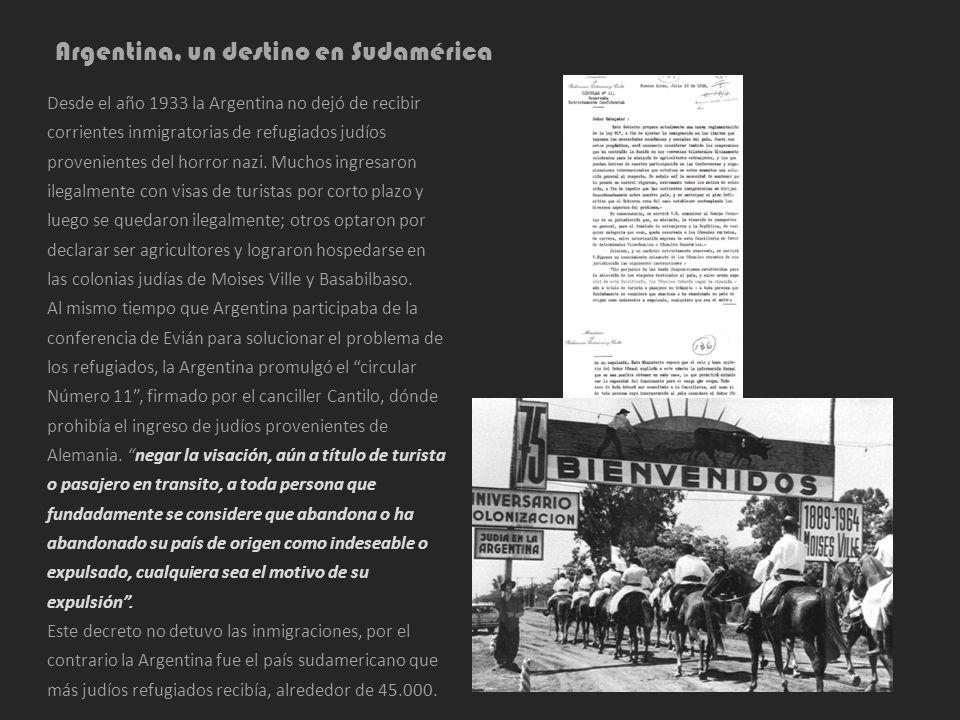 Argentina, un destino en Sudamérica Desde el año 1933 la Argentina no dejó de recibir corrientes inmigratorias de refugiados judíos provenientes del h