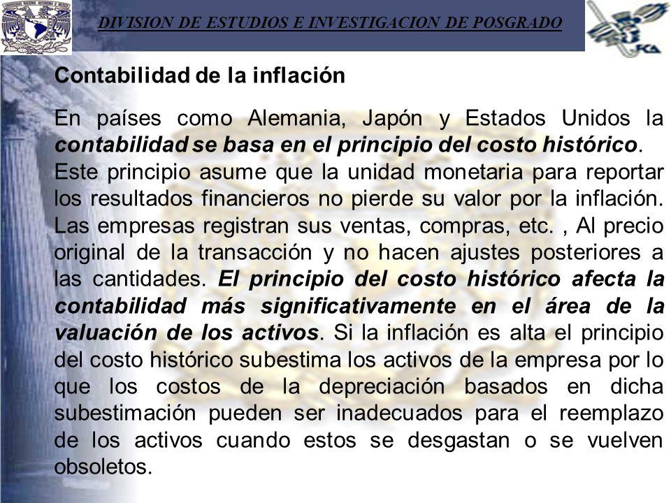 DIVISION DE ESTUDIOS E INVESTIGACION DE POSGRADO Contabilidad de la inflación En países como Alemania, Japón y Estados Unidos la contabilidad se basa
