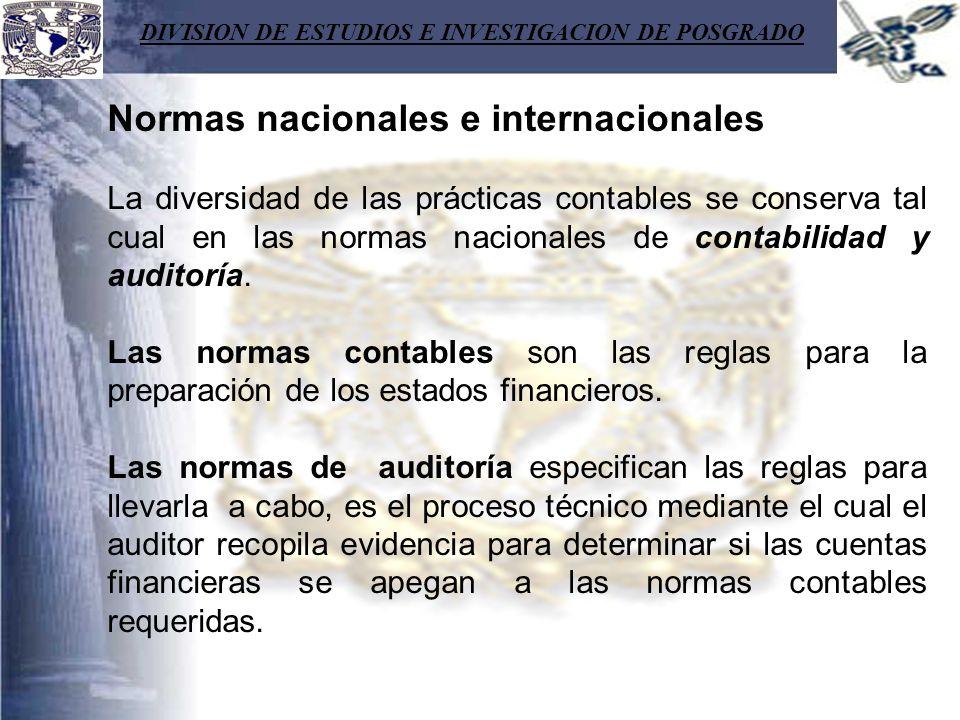 DIVISION DE ESTUDIOS E INVESTIGACION DE POSGRADO Normas nacionales e internacionales La diversidad de las prácticas contables se conserva tal cual en