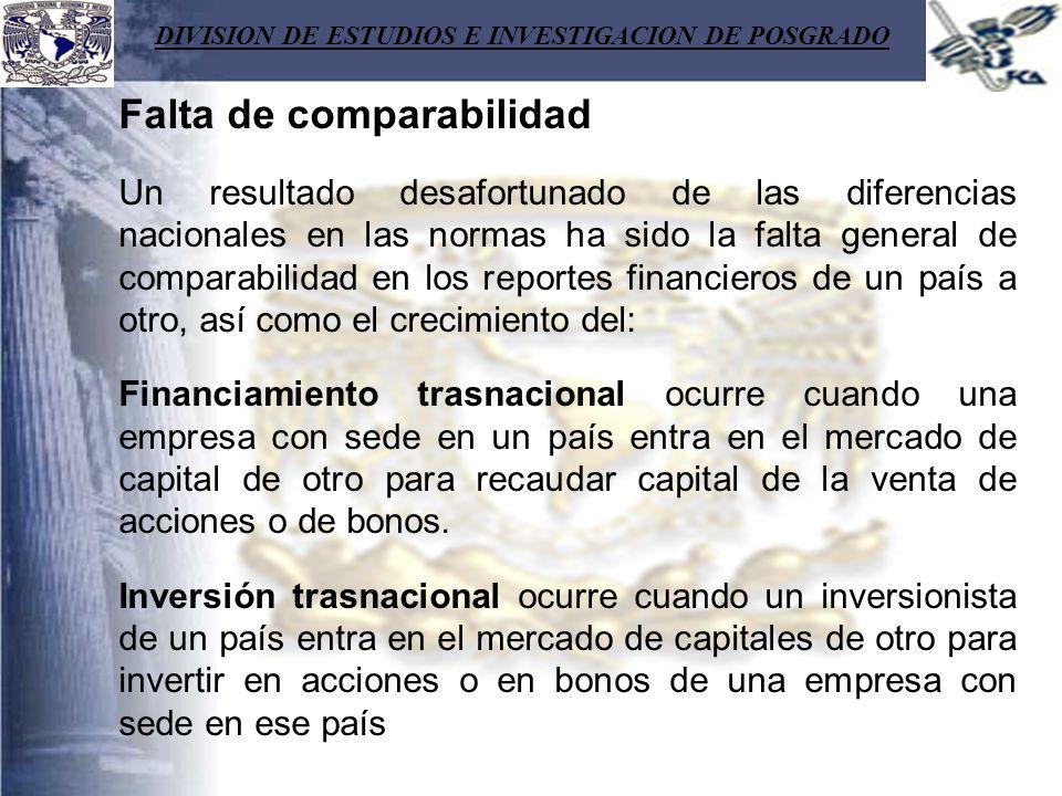 DIVISION DE ESTUDIOS E INVESTIGACION DE POSGRADO Falta de comparabilidad Un resultado desafortunado de las diferencias nacionales en las normas ha sid