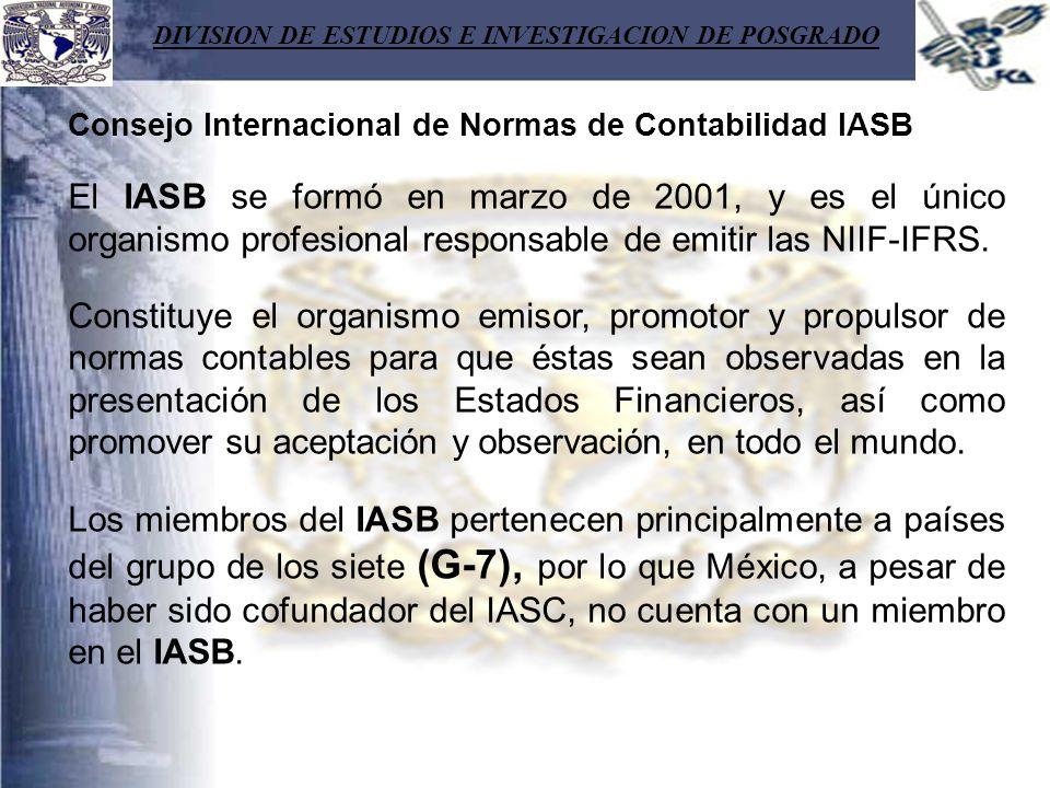 DIVISION DE ESTUDIOS E INVESTIGACION DE POSGRADO Consejo Internacional de Normas de Contabilidad IASB El IASB se formó en marzo de 2001, y es el único