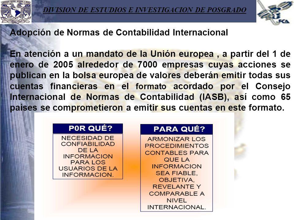 DIVISION DE ESTUDIOS E INVESTIGACION DE POSGRADO Adopción de Normas de Contabilidad Internacional En atención a un mandato de la Unión europea, a part