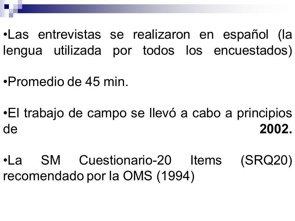 Las entrevistas se realizaron en español (la lengua utilizada por todos los encuestados) Promedio de 45 min.