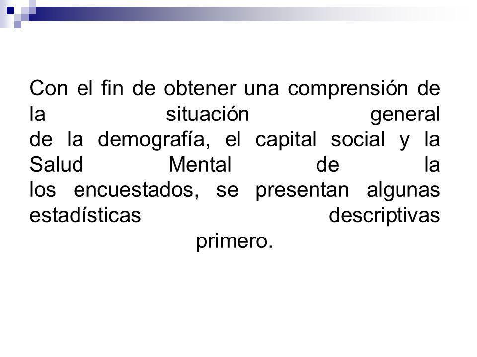 Con el fin de obtener una comprensión de la situación general de la demografía, el capital social y la Salud Mental de la los encuestados, se presentan algunas estadísticas descriptivas primero.