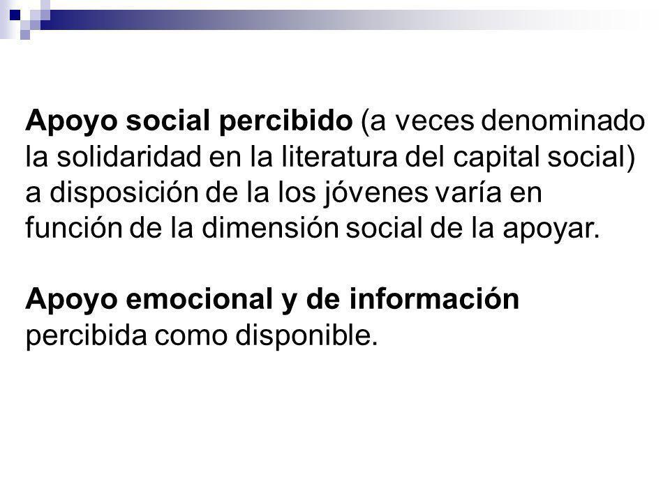 Apoyo social percibido (a veces denominado la solidaridad en la literatura del capital social) a disposición de la los jóvenes varía en función de la dimensión social de la apoyar.