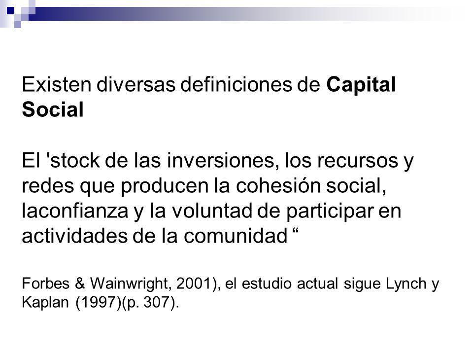 Existen diversas definiciones de Capital Social El stock de las inversiones, los recursos y redes que producen la cohesión social, laconfianza y la voluntad de participar en actividades de la comunidad Forbes & Wainwright, 2001), el estudio actual sigue Lynch y Kaplan (1997)(p.
