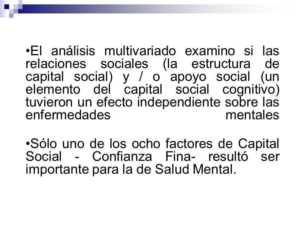 El análisis multivariado examino si las relaciones sociales (la estructura de capital social) y / o apoyo social (un elemento del capital social cognitivo) tuvieron un efecto independiente sobre las enfermedades mentales Sólo uno de los ocho factores de Capital Social - Confianza Fina- resultó ser importante para la de Salud Mental.