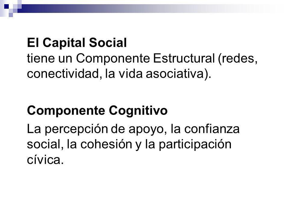 El Capital Social tiene un Componente Estructural (redes, conectividad, la vida asociativa).